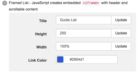 Additional options for framed list