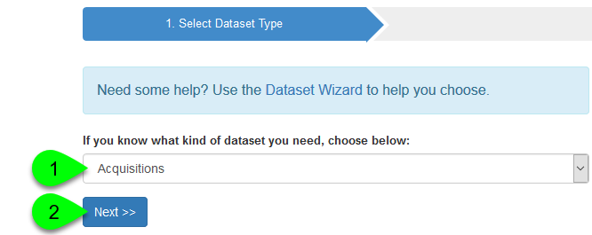 Example of selecting a dataset type