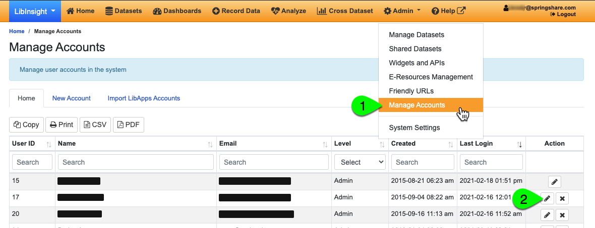 Navigating to the Manage Accounts page