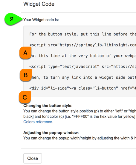 Example of a side button widget's embed code