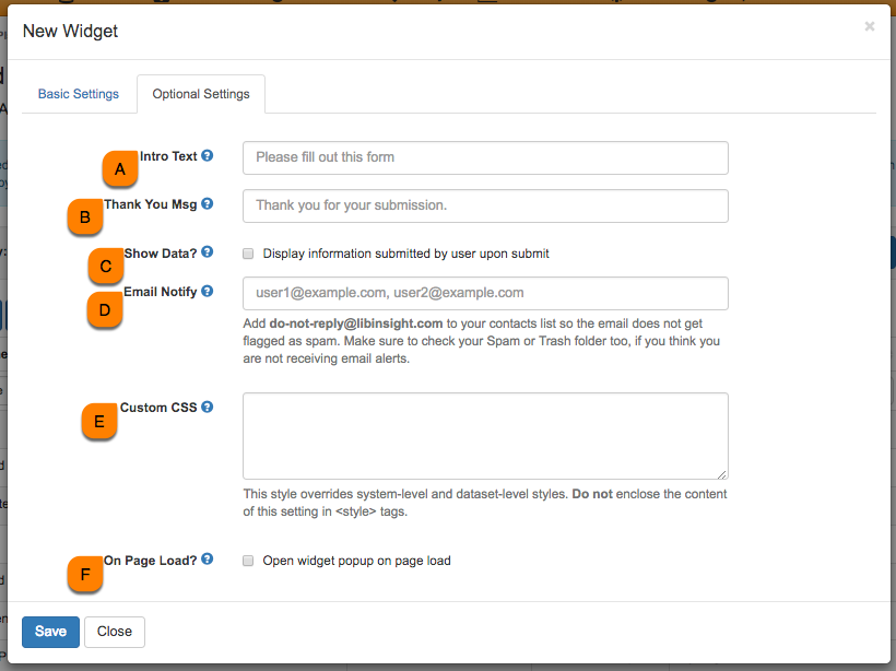 Overview of the optional settings when creating a widget