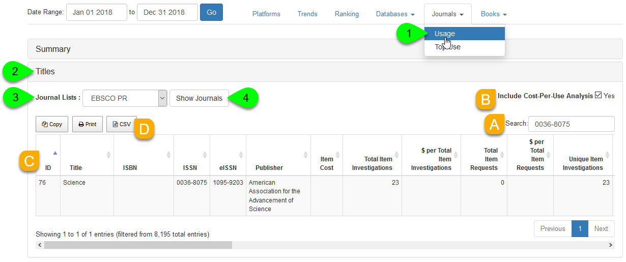 A Journal List filtered to a single journal
