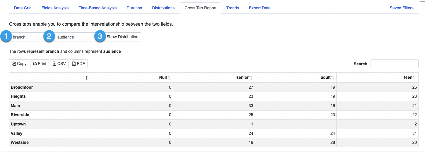 Example of a Cross Tab report