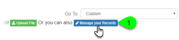 Screenshot of the Manage Your Records button