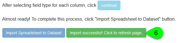Screenshot of the Import Successful button