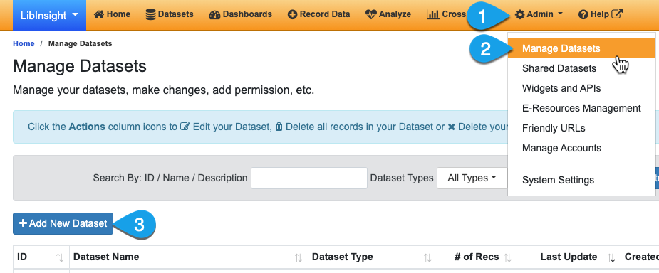 Navigating the the Manage Datasets page and adding a new dataset