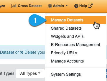 Navigating to the Manage Datasets page
