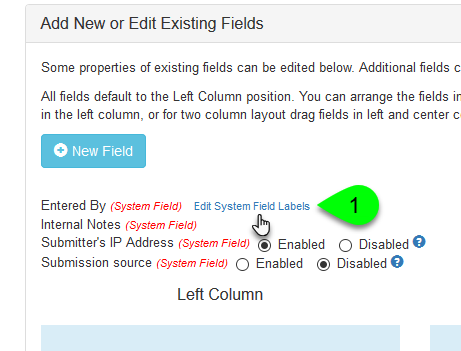 Clicking to edit system field labels
