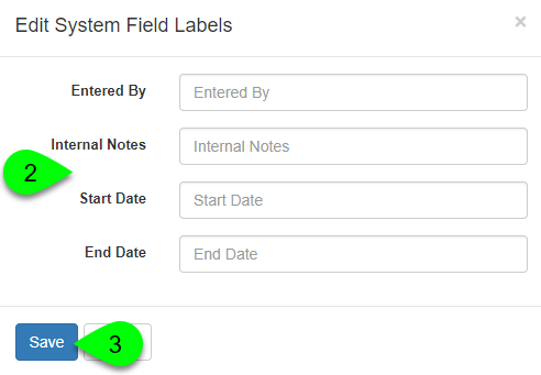 Editing the system field labels