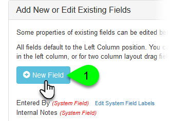 Clicking the New Field button