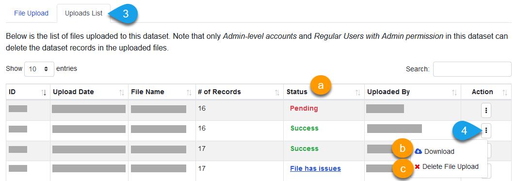 Viewing a dataset's Uploads List