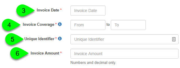 Adding the invoice date, coverage, identifier, and amount