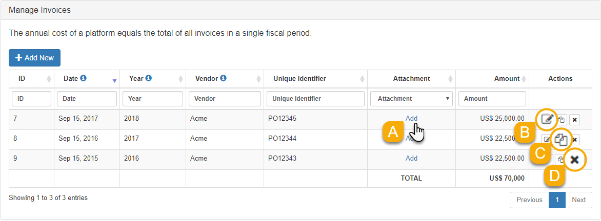 Example of options for managing invoices