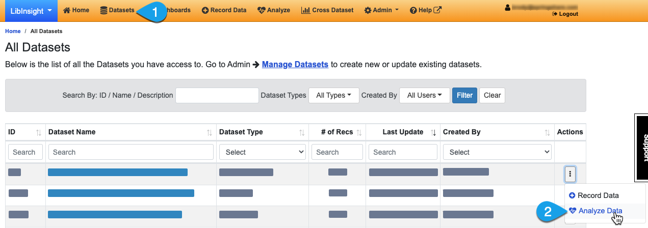 Navigating to the Analyze Data page via the Datasets page