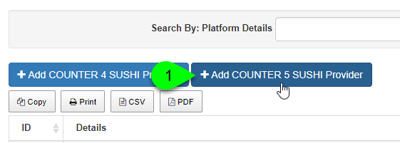 Screenshot of the Add COUNTER 5 SUSHI Provider button