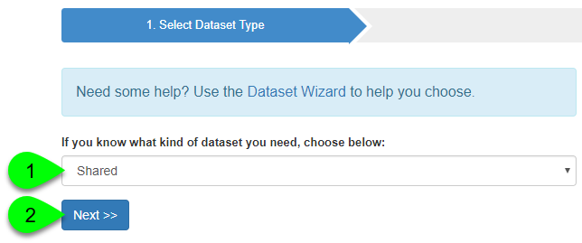 Selecting the database type