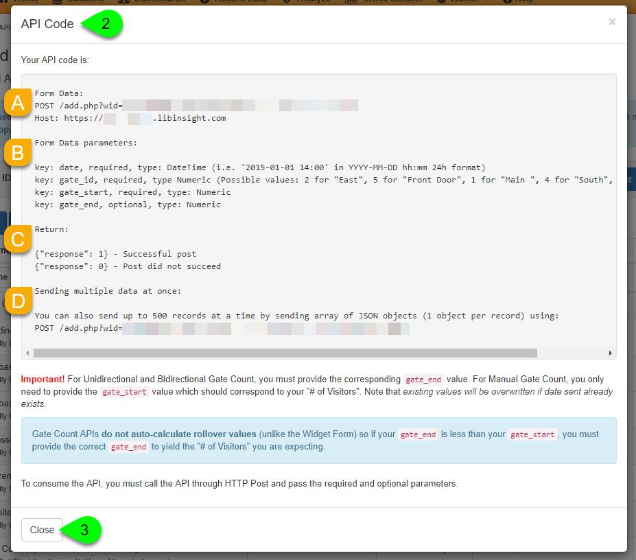 The API Code modal