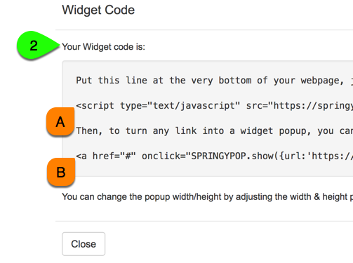 Example of a popup widget's embed code
