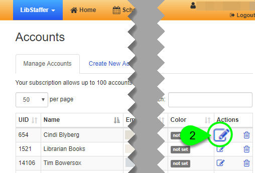 The Color column and Edit icon for a user account