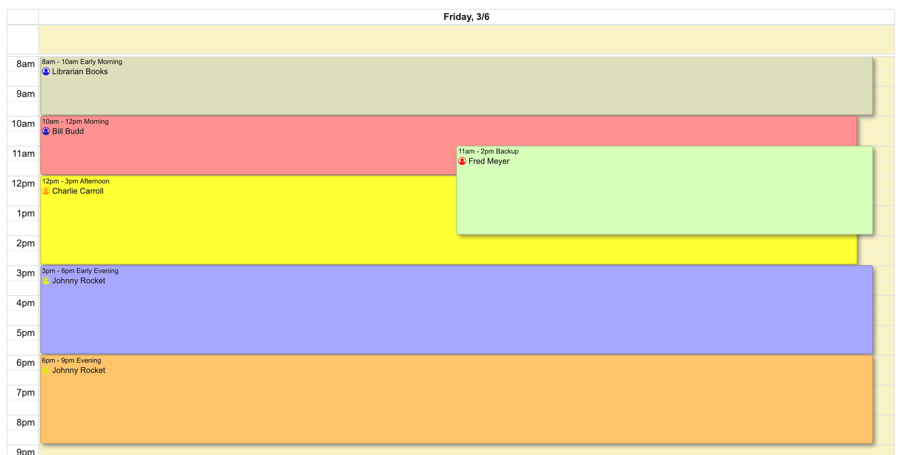 Example of users with assigned colors on a schedule