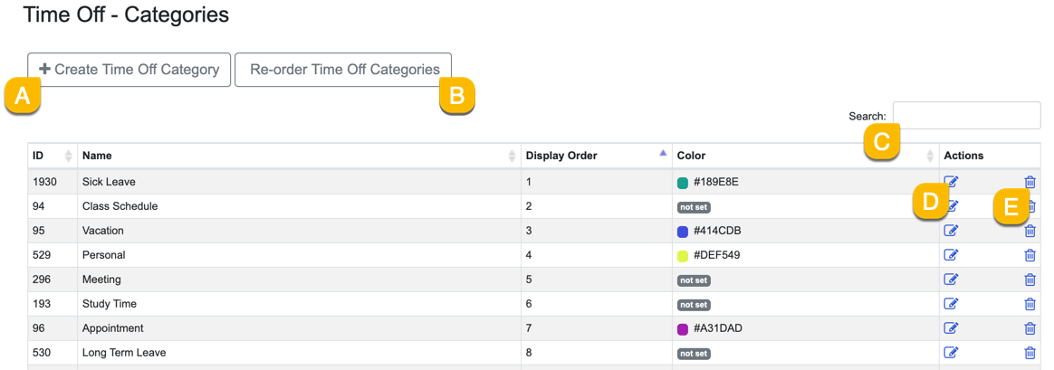 manage existing time off categories