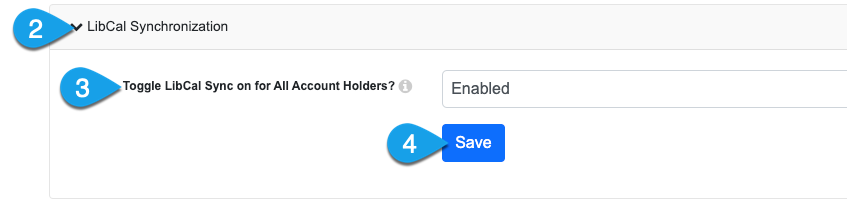 enable or disable the LibCal MyScheduler sync for all accounts