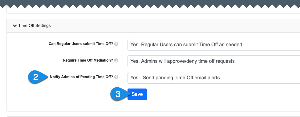 enable or disable email notifications for time off requests