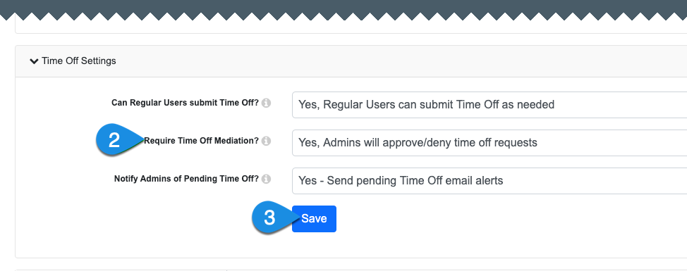 enable or disable mediation for time off requests