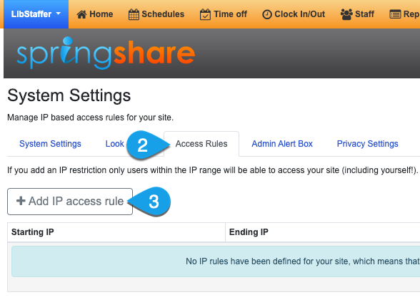 Clicking the Add IP Access Rule button