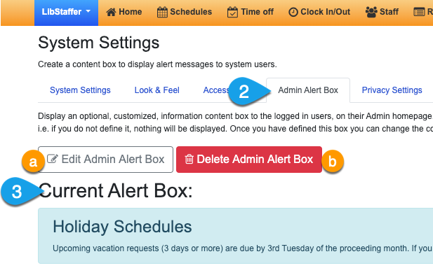 Options for editing and deleting the admin alert box