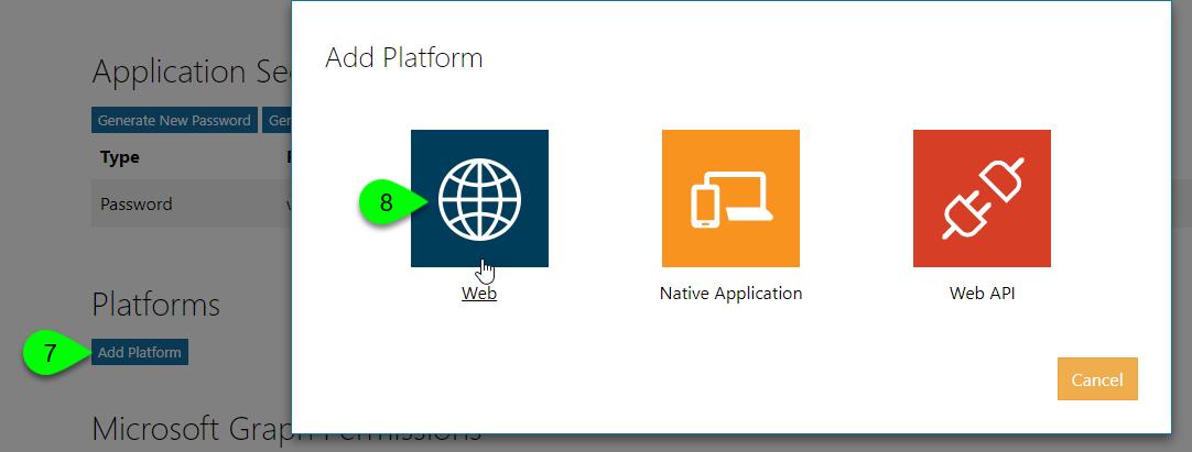 The Add Platform window