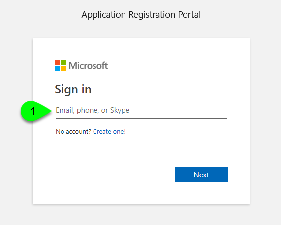 The Application Registration Portal login page
