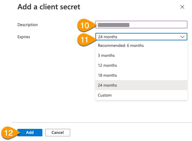 The Add a Client Secret window