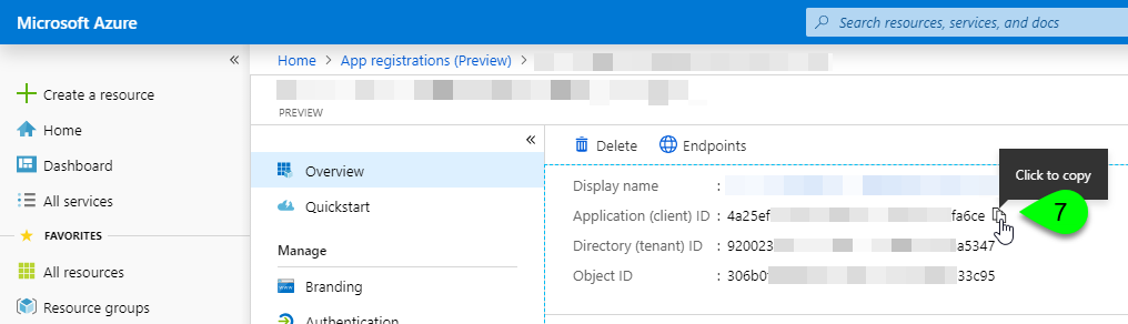 The Application ID on the Overview page