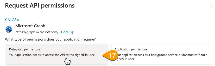 The Delegated Permissions button