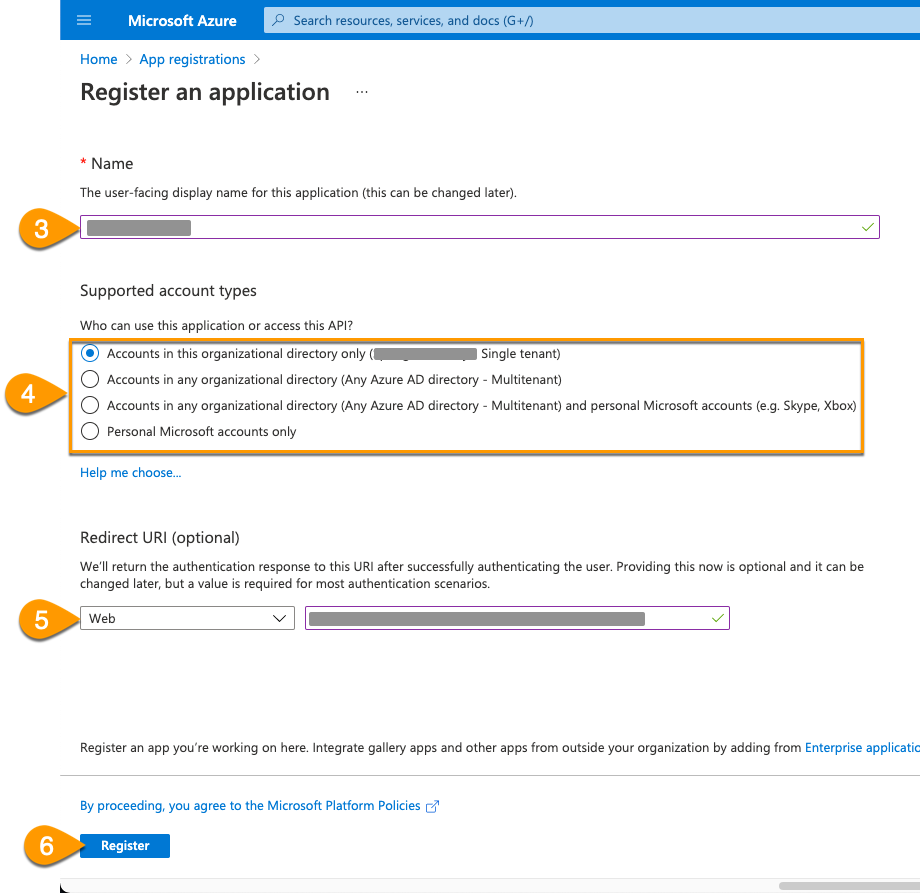 The Name, Supported Account Types, and Redirect URI options