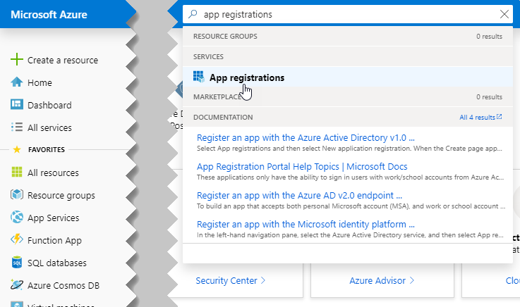 Searching for the App registrations service