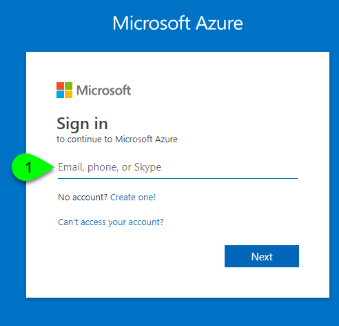 Microsoft Azure sign in page