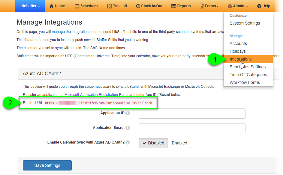 The Redirect URL in the Azure AD OAuth2 box