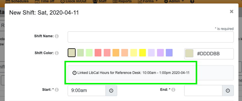 The New Shift window showing LibCal hours for the selected date