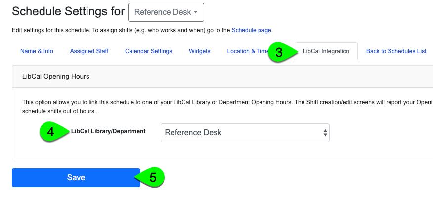 The LibCal Integration settings