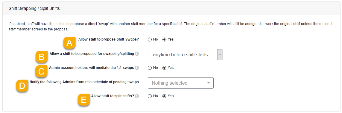 The Shift Swapping / Split Shifts panel