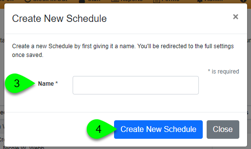 create new schedule step 2