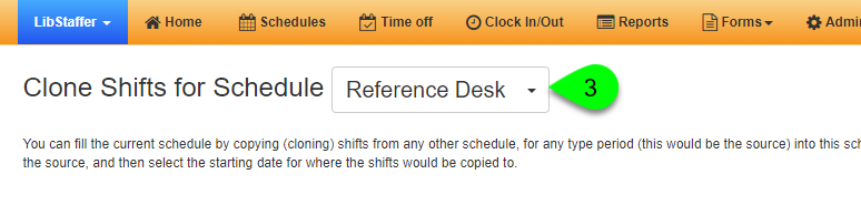 The Clone Shifts for Schedule dropdown