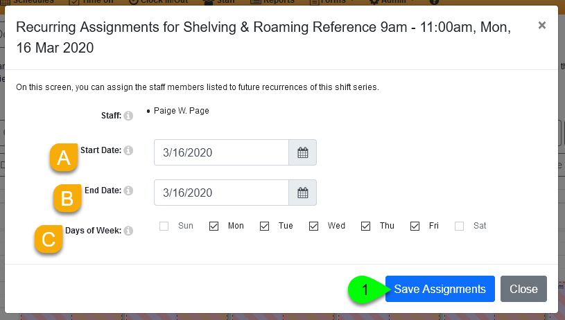 Assigning a user to a recurring shift