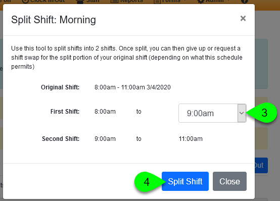 Splitting a shift