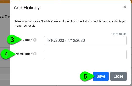 Adding a holiday