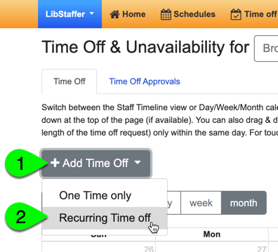 Adding a recurring time off request