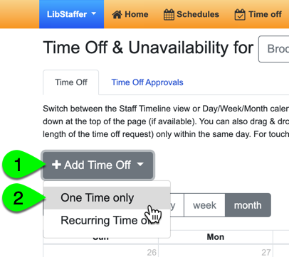 Adding a one-time time off request