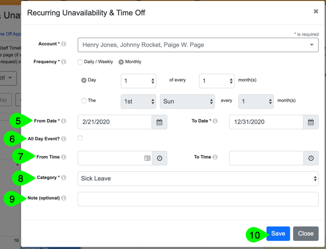 Creating and saving recurring time off